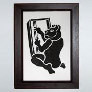Baba Yaga's Cat Woodcut Print