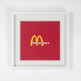 Framed hand embroidered McDonald's logo