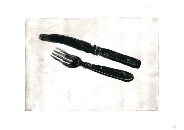 Black & White monotype Print of a Knife & Fork