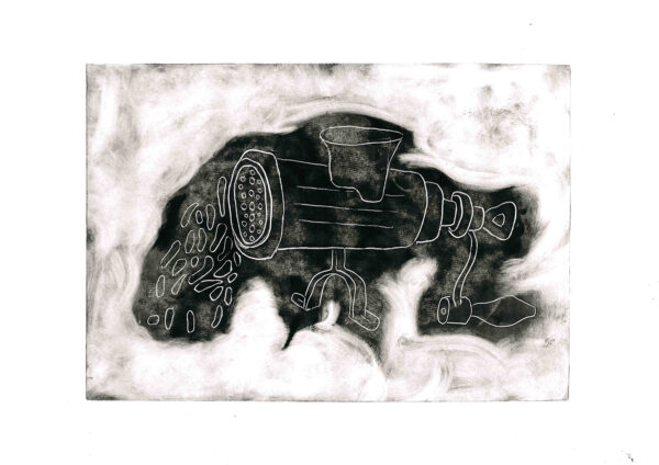 Reductive Monotype Print of a Meat Grinder