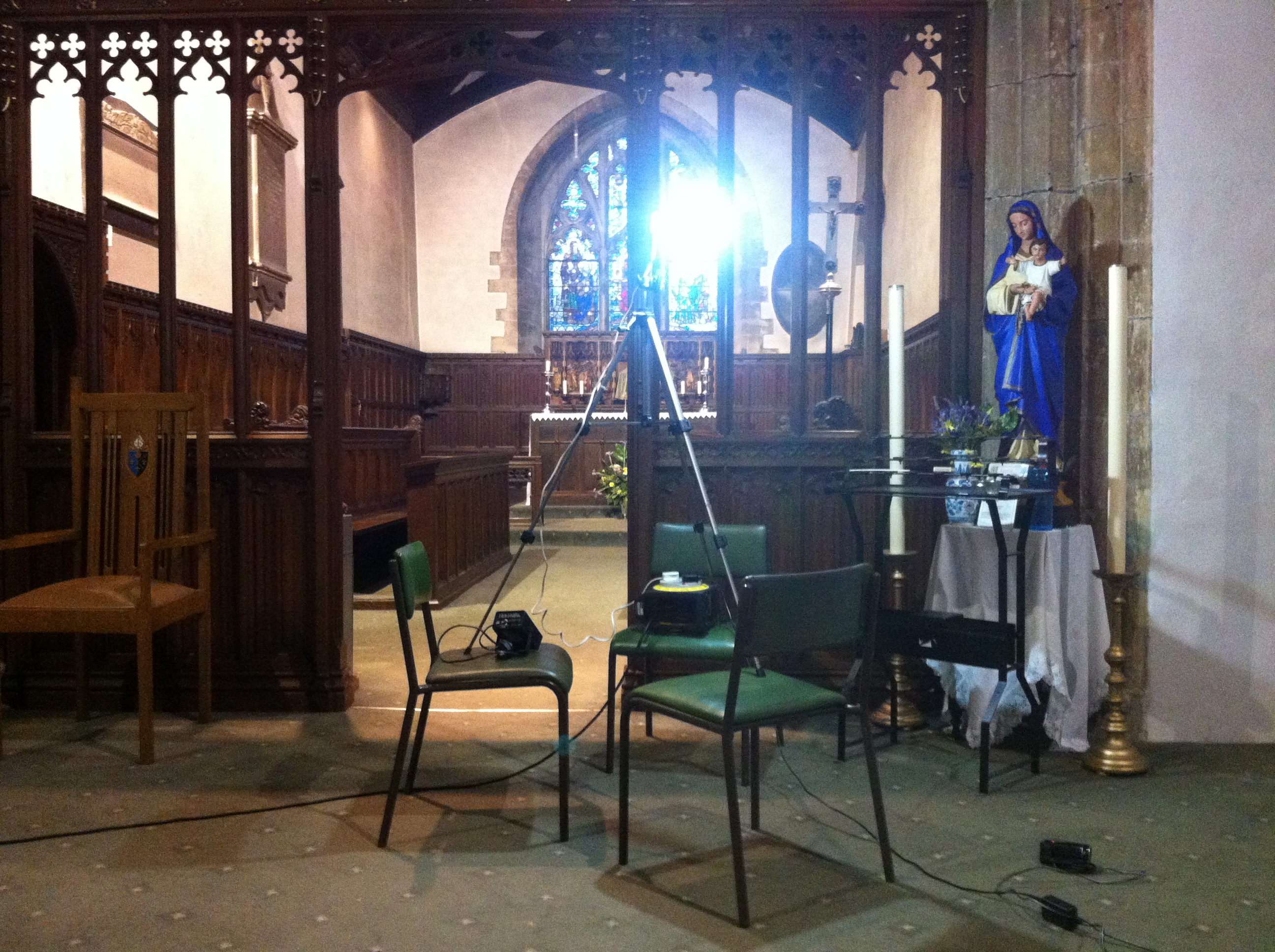 Filming on Location at a church in Cardiff