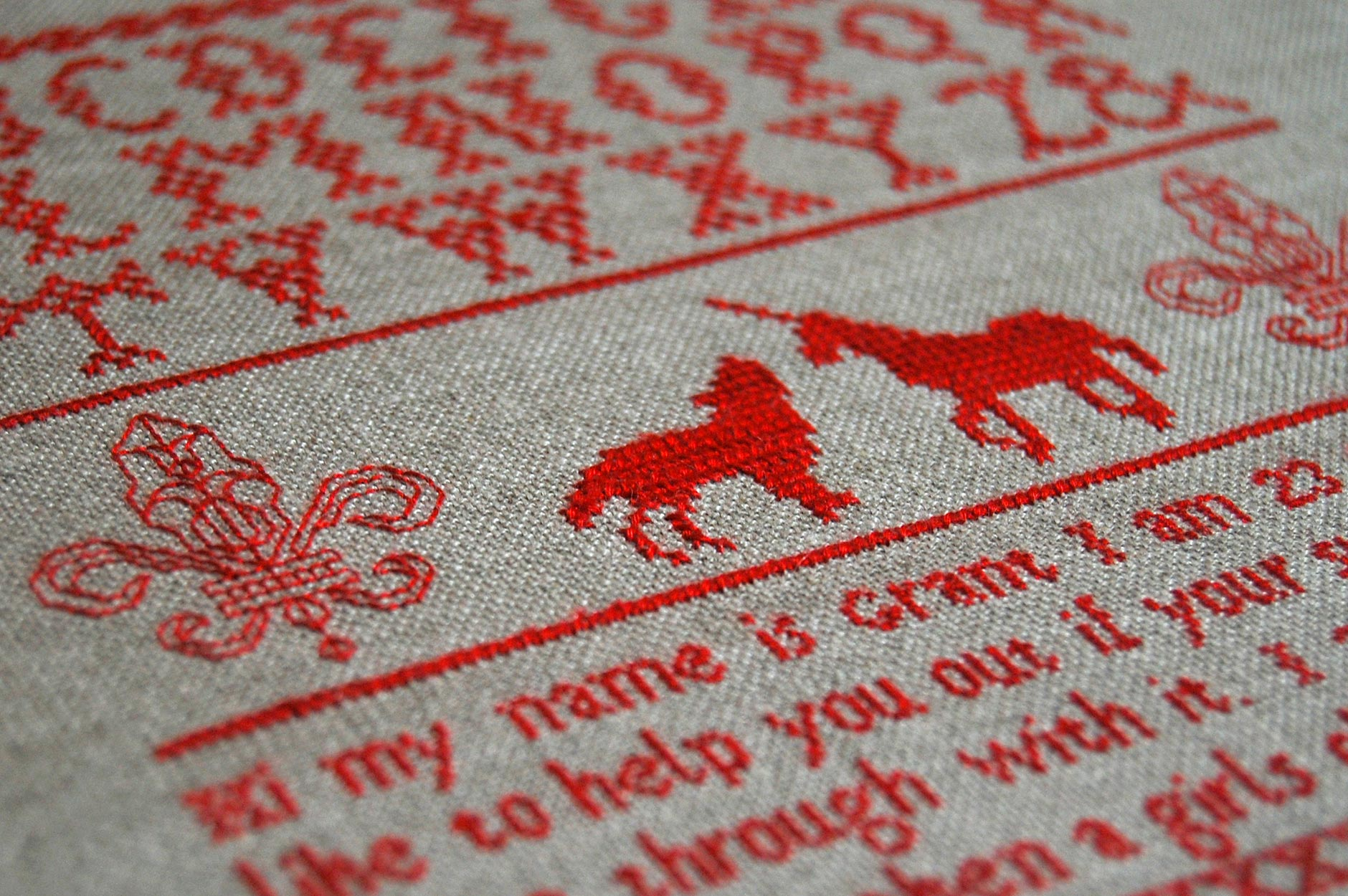 The Hunt for the Unicorn | Subversive Cross Stitch by Spike Dennis