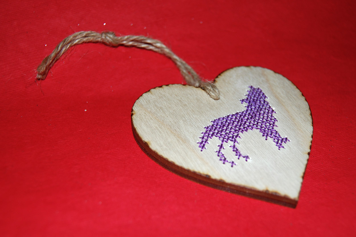 Cross Stitched Wooden Heart Valentines Gift Handmade