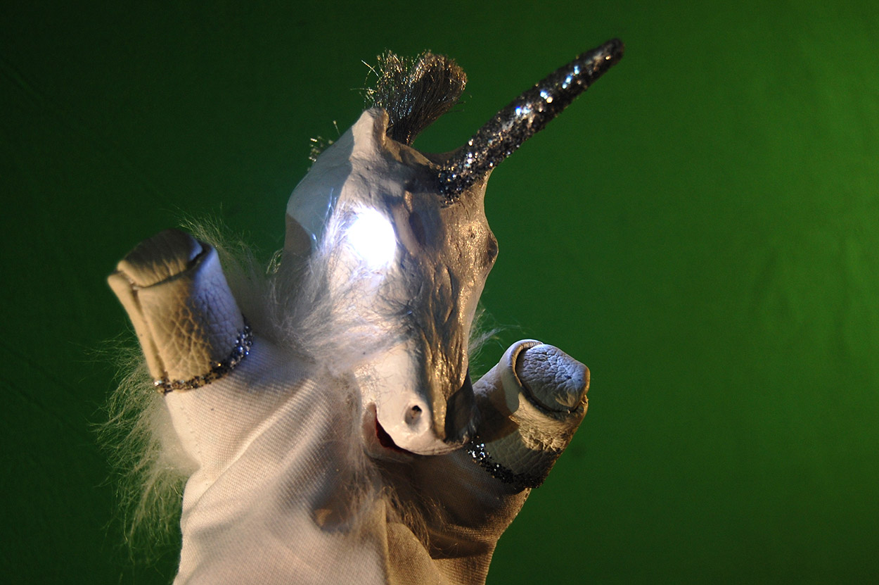 Green Screen Unicorn Puppet Glove