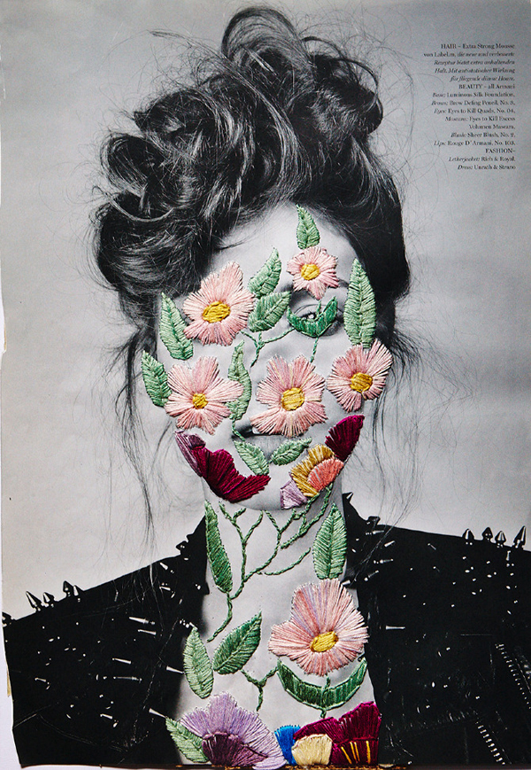 Embroidered fashion magazine page