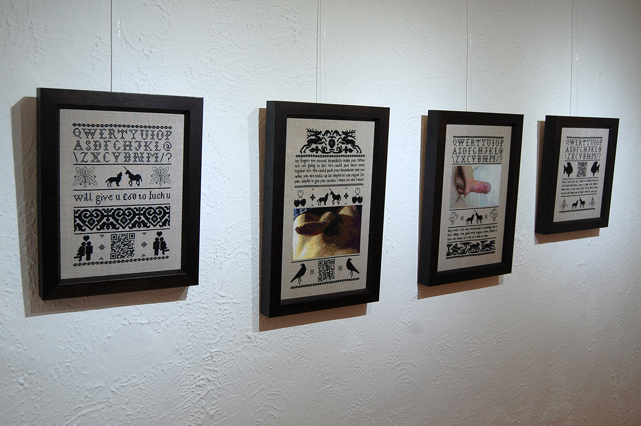 Subversive cross stitch exhibition at The Sho gallery