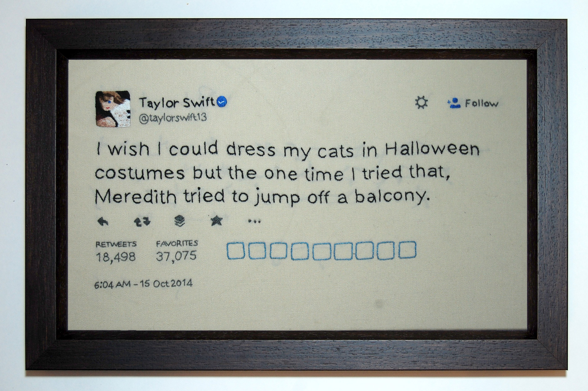 Taylor Swift 1989 Tweets Hand Embroidered