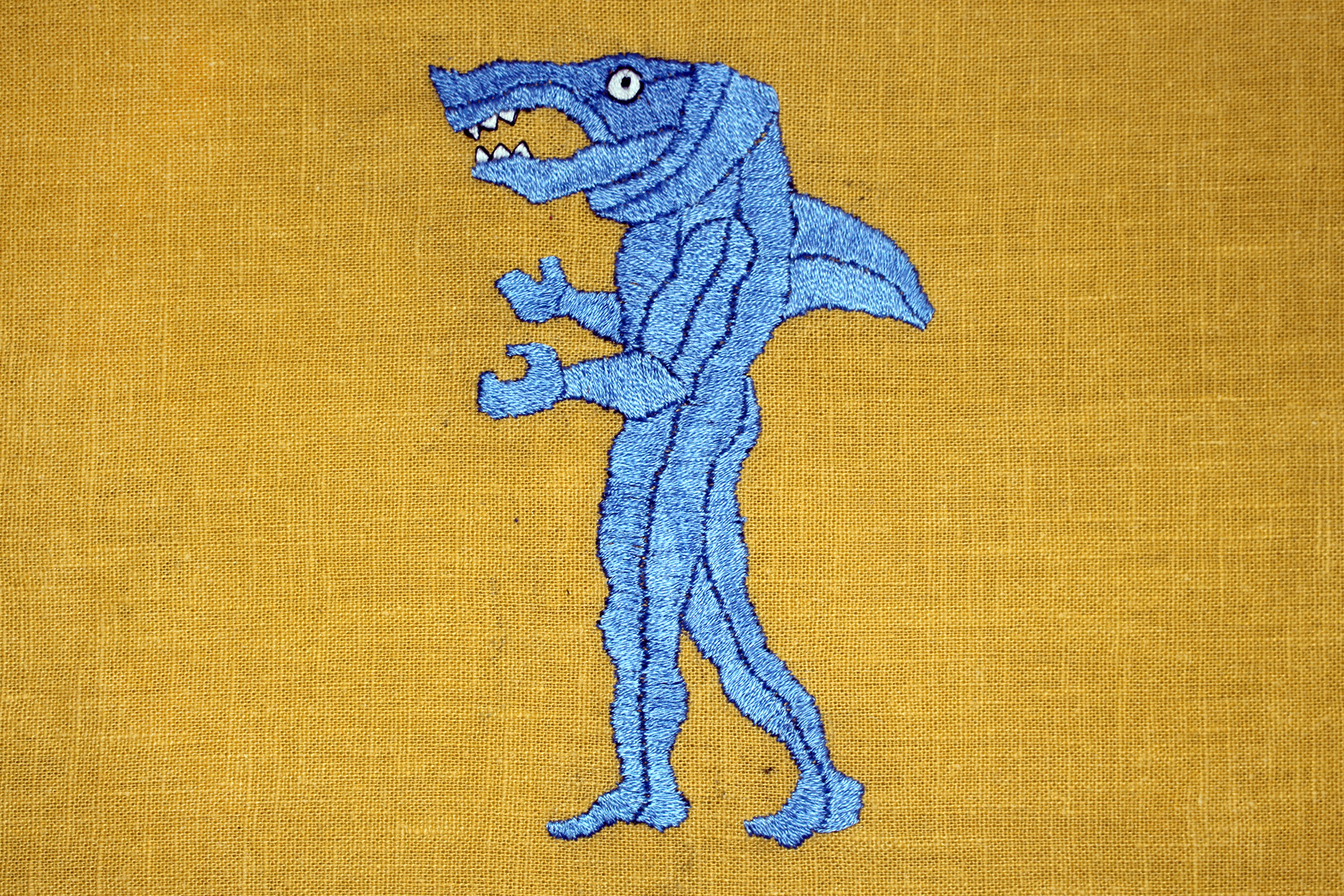 Satin Stitch Embroidered Shark
