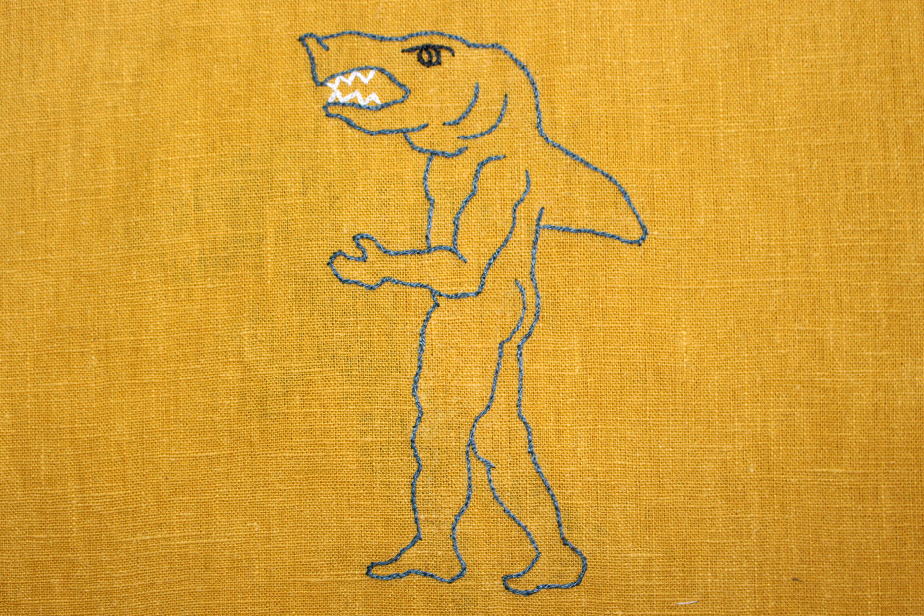 Embroidery of a Shark Man
