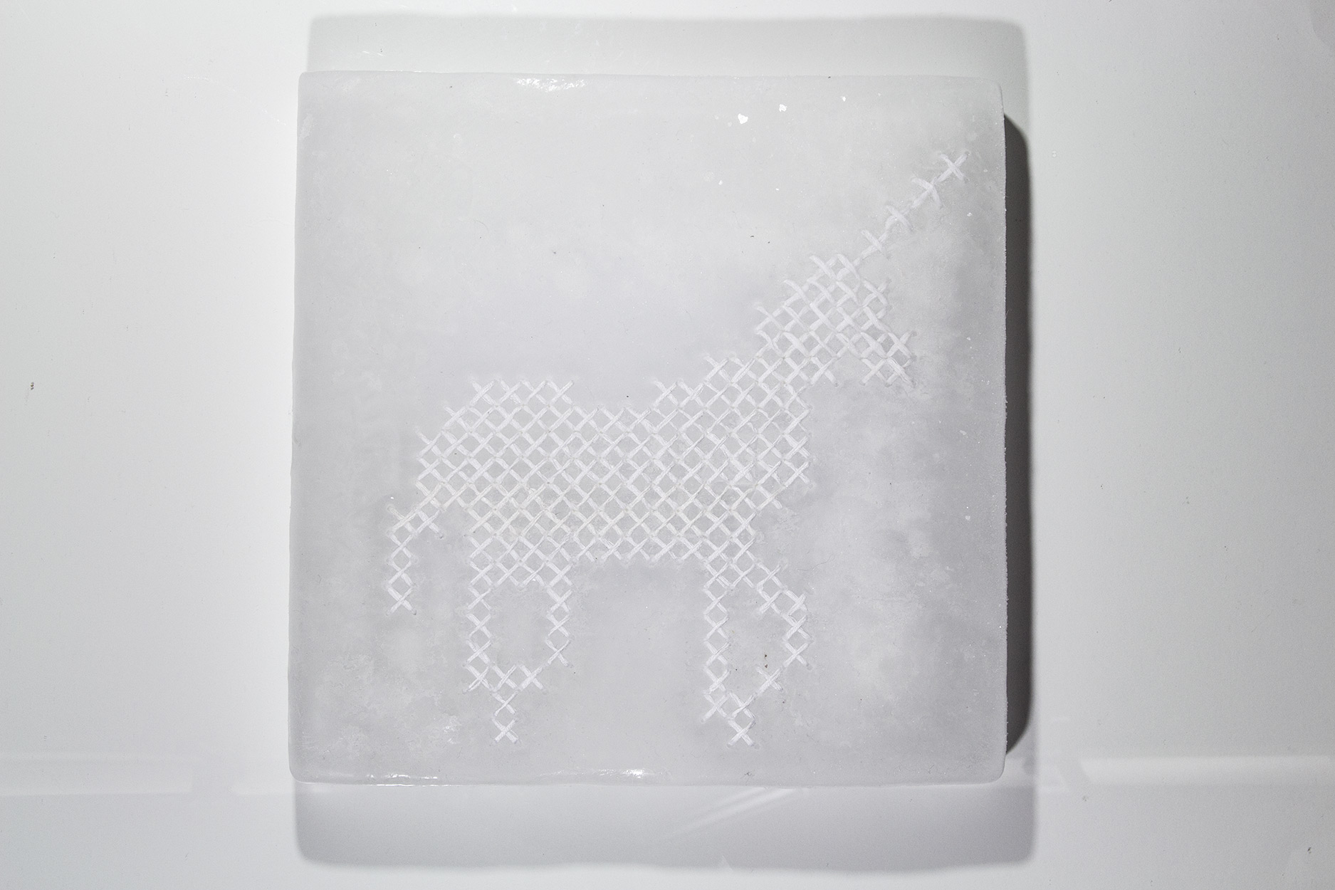 Contemporary Cross Stitch Unicorn in Ice
