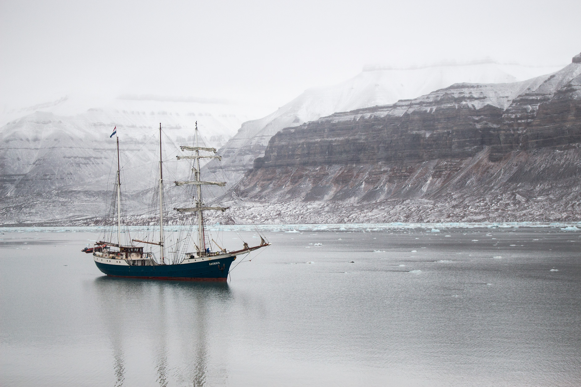 The tall ship Antigua anchored in Svalbard