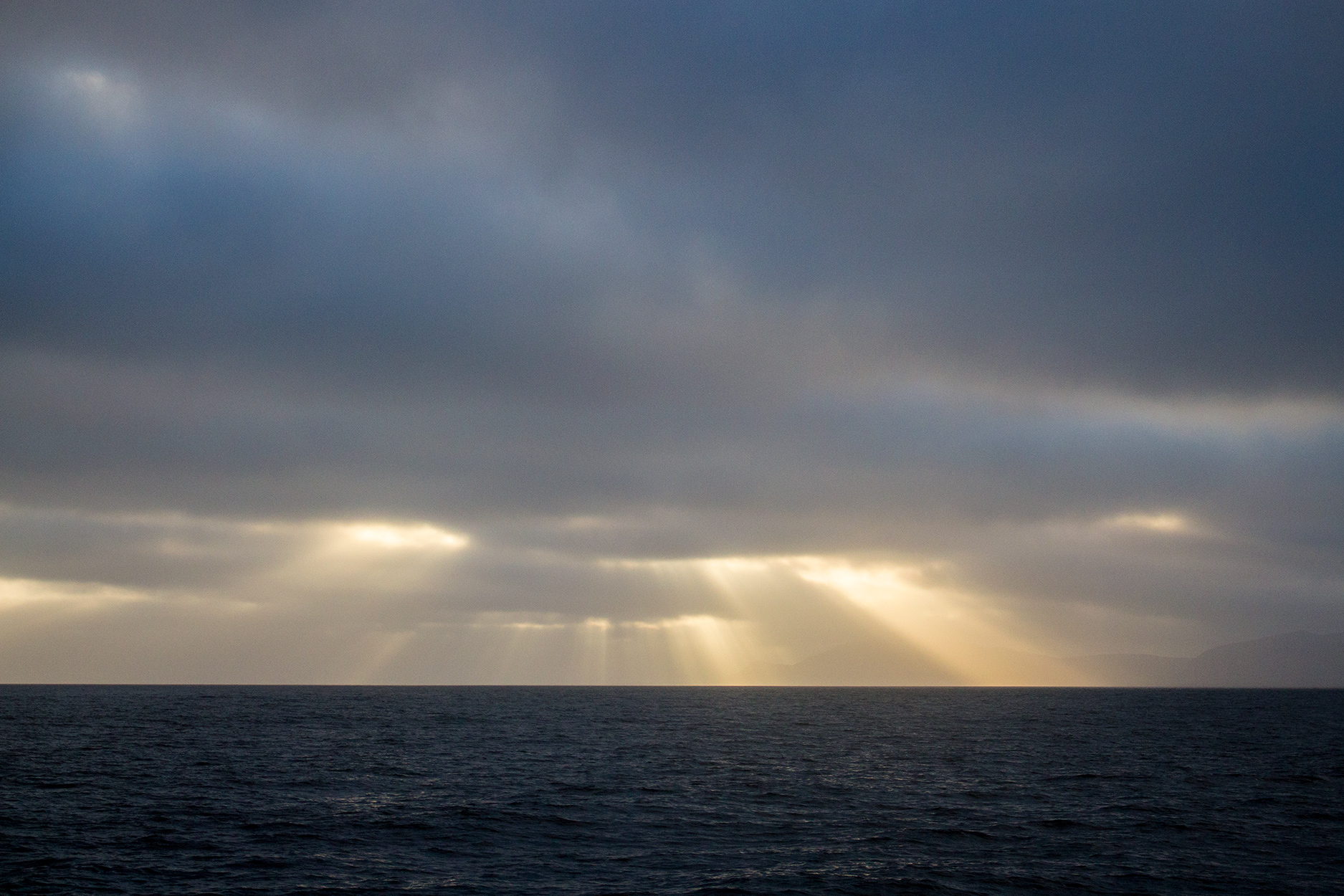 Rays on sunlight over the arctic sea