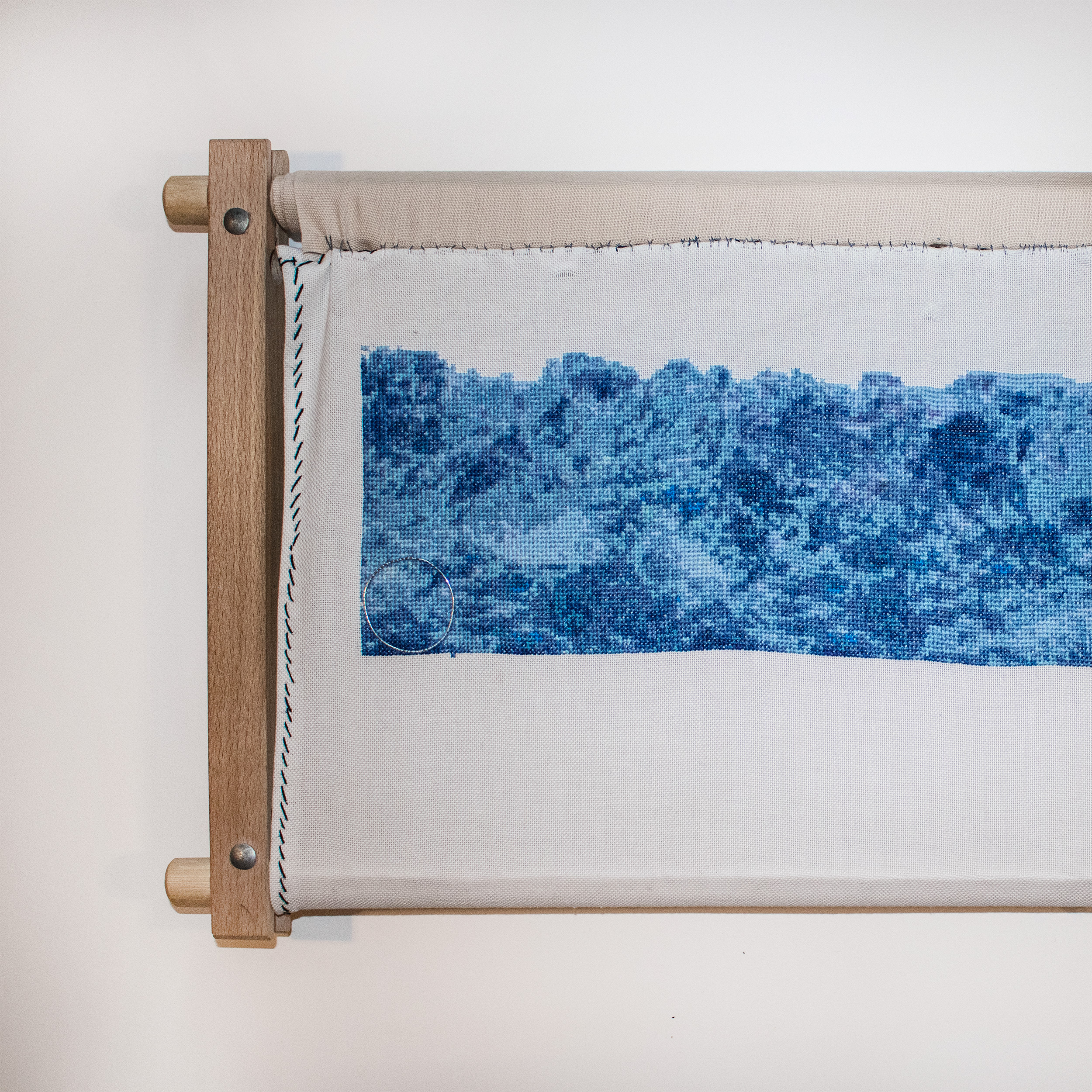 Svalbard Glacier recreated in cross stitch